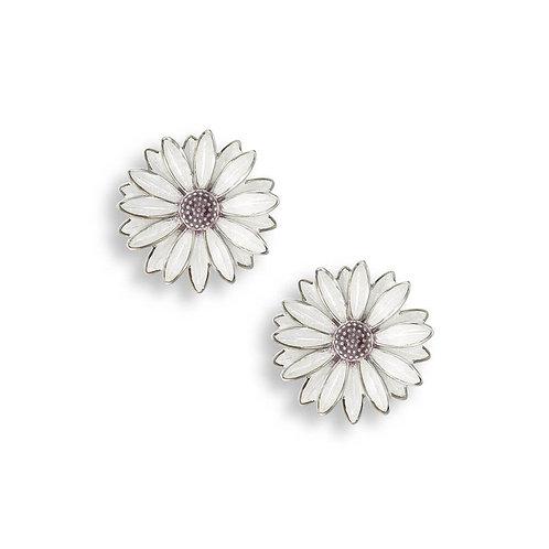 Sterling Silver White African Daisy Stud Earrings