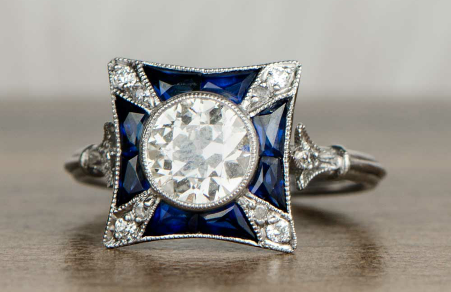 The Claire French cut Sapphire & Diamond