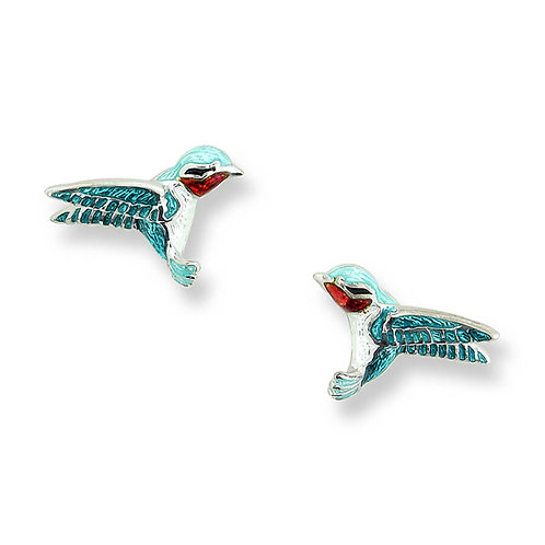 Hummingbird Stud Earrings-Green