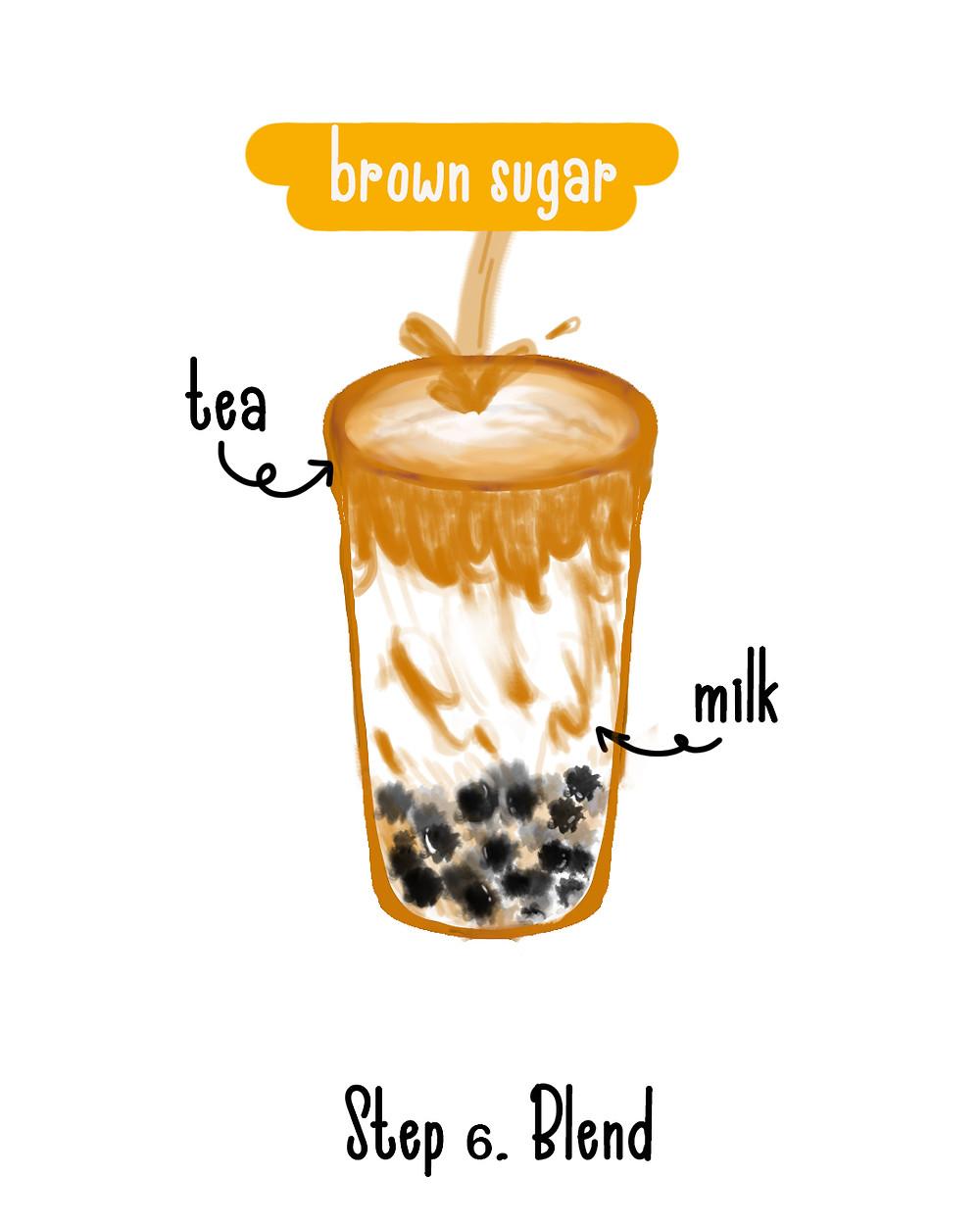 Step 6 to make brown sugar boba - Blend milk tea