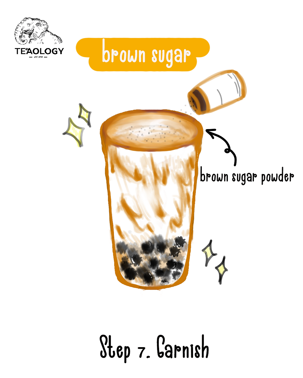 Step 7 to make brown sugar boba - Garnish brown sugar boba