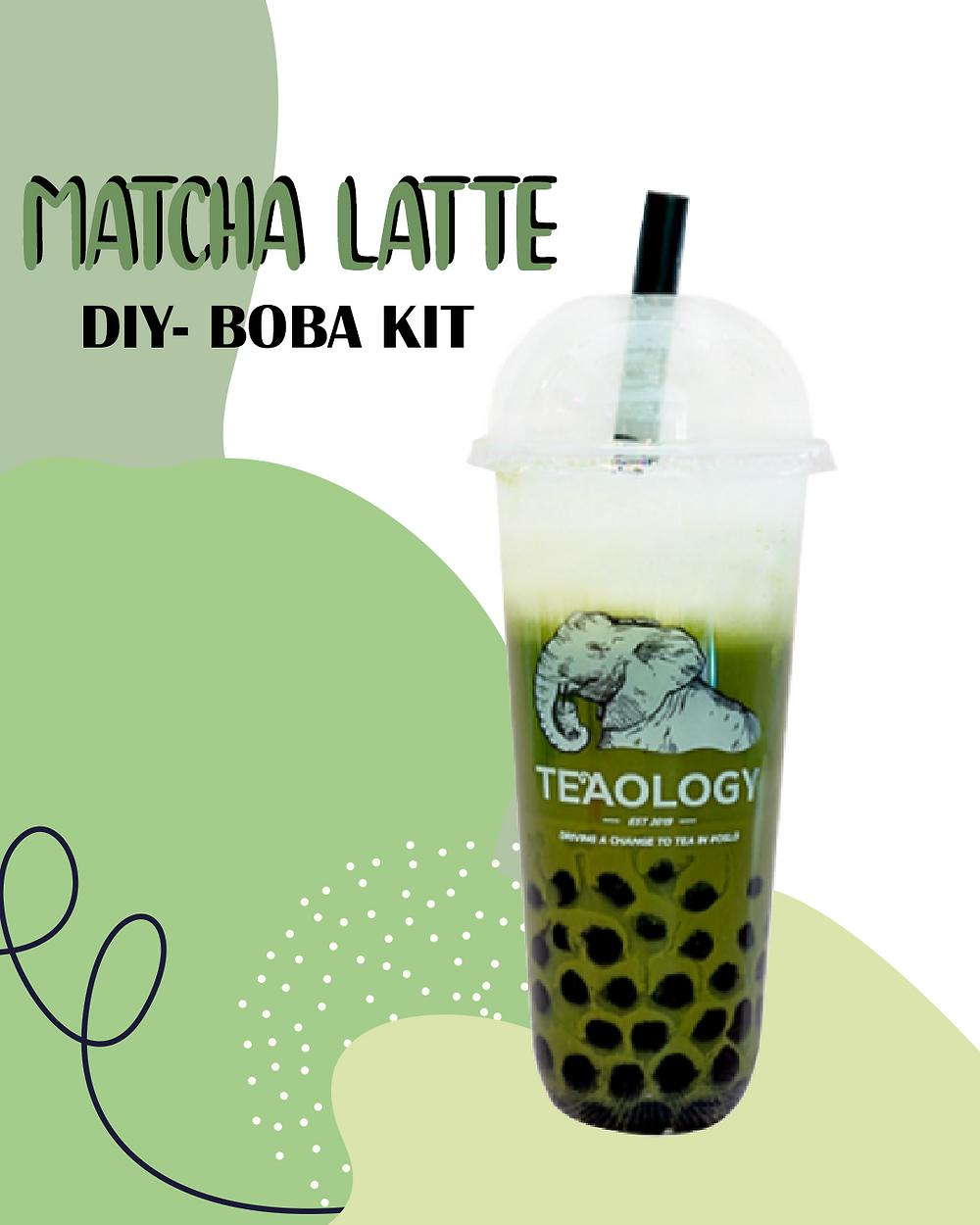 Matcha latte at home bubble tea