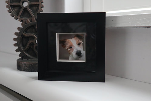 MINIATURE CUSTOM PET PORTRAIT - FRAMED FINE ART PRINT- FRAME 4X4in
