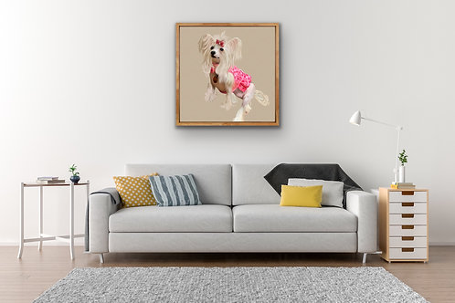 CUSTOM PET PORTRAIT - FINE ART CANVAS with TRAY FRAME - 20MM DEPTH
