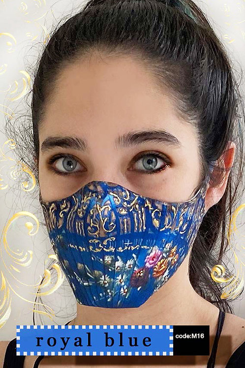 Mask with Print - Royal Blue