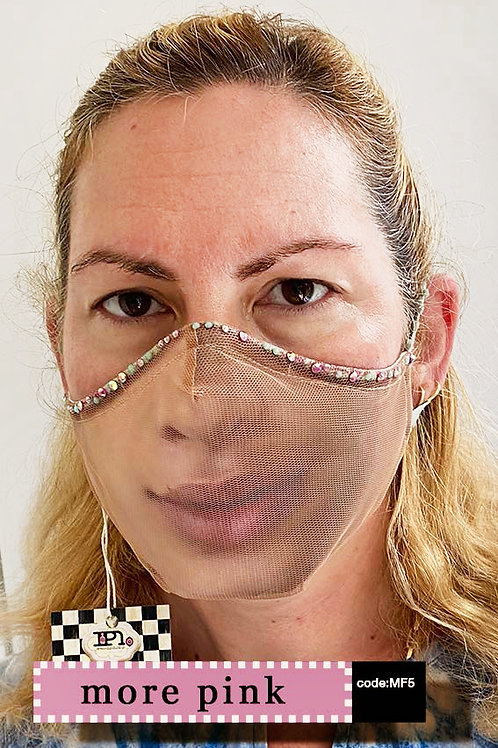 Mask with Face Print - More Pink