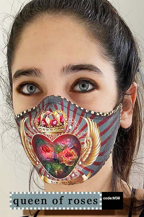 Mask with Print - Queen of Roses