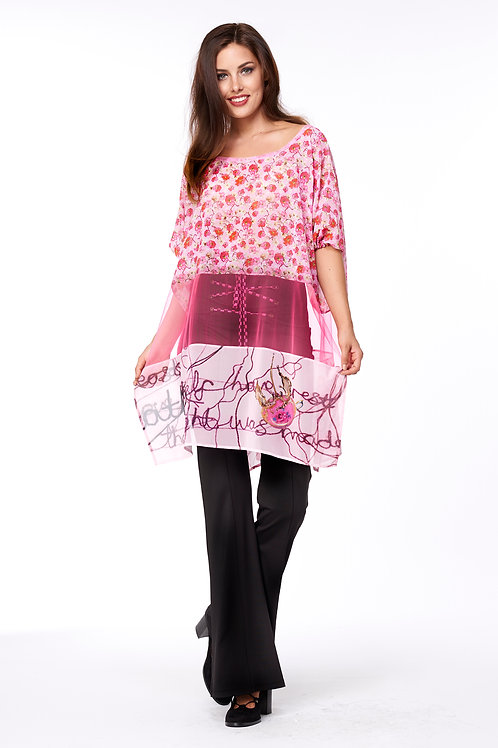 Blouse T Long - Tea Time Multi Pink