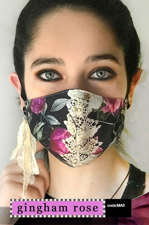 Mask with Accessories - Gingham Rose