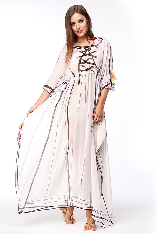 Shawl Dress Long - No Wear White