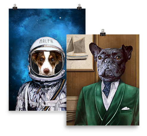pet portrait, smoke jacket pet, dapper pet
