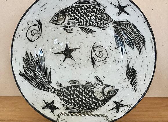 Sgraffito Koi Fish Bowl