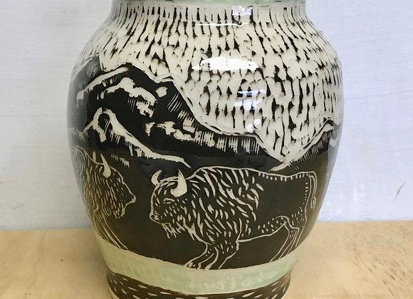 Sgraffito Buffalo Vase