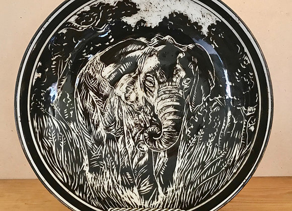 Sgraffito Elephant Bowl