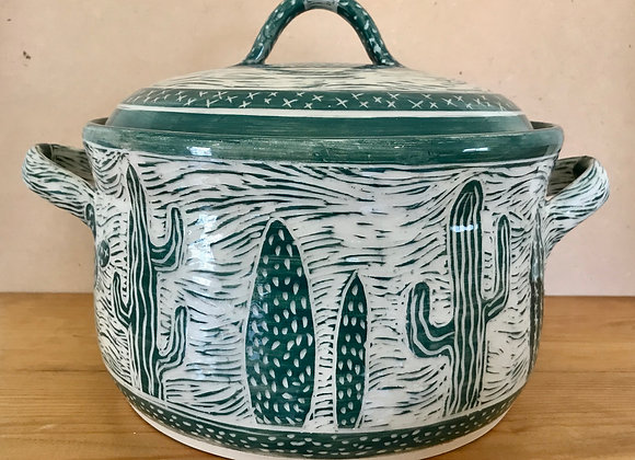 Sgraffito Cactus Chili Pot