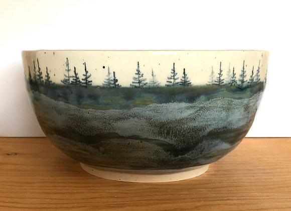 Deep Lake Waves Landscape Serving Bowl