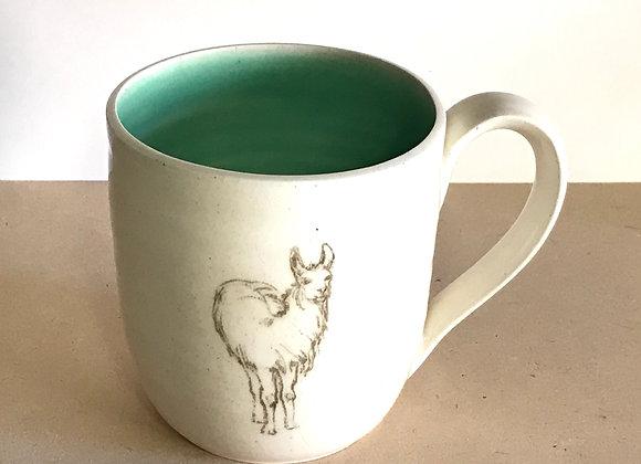 Hand-printed Llama Mug