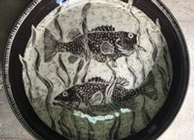 Sgraffito Fish Platter