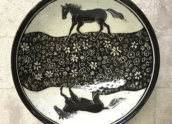 Sgraffito Horses Shallow Bowl
