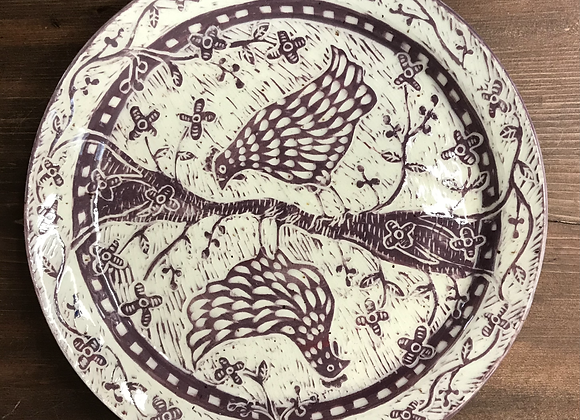 Purple Sgraffito Chickens Plate