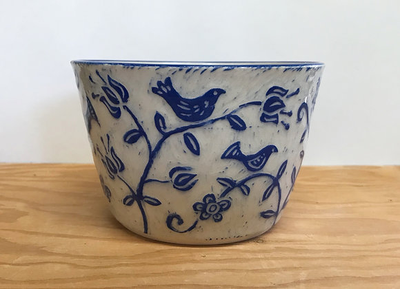 Small Sgraffito Birds and Flowers Bowl