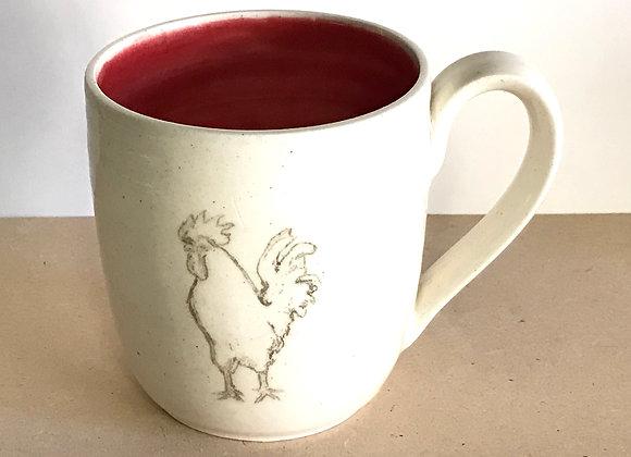 Hand-printed Chicken Mug