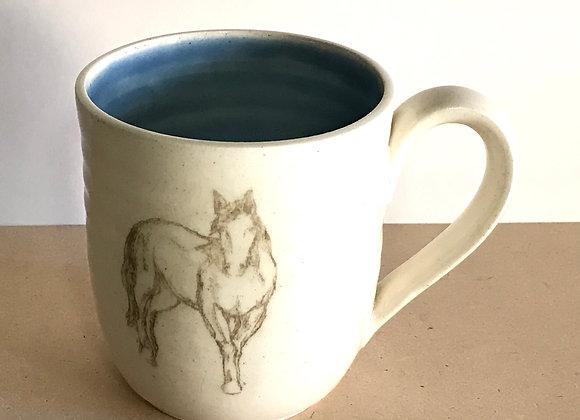 Hand-printed Horse Mug