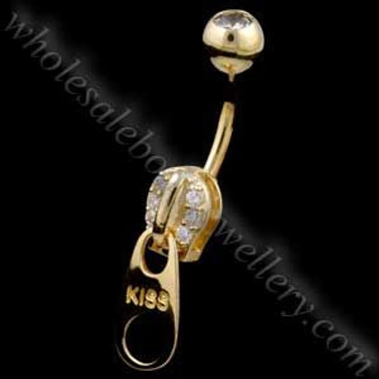 9ct Large Zip Belly Bar (9N26)