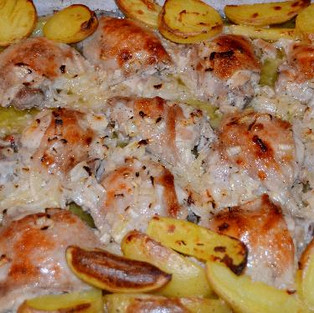 Chicken breast with potatoes.