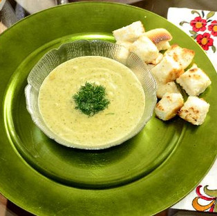 Soup with broccoli and potatoes.
