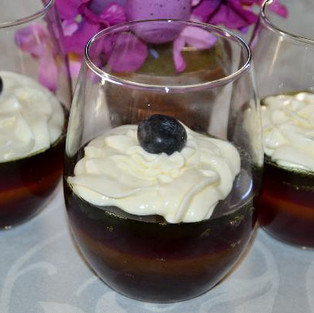 Berry jelly with cream.