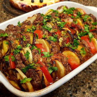Ratatouille with meat medallions.