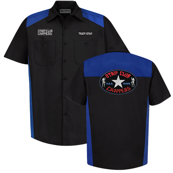 Men's Short Sleeve SCC Blue/Black Contrast Panel Mechanic Shop Shi