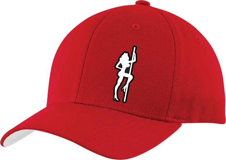Strip Club Choppers Curved Bill Red Fitted Hat Ball Cap