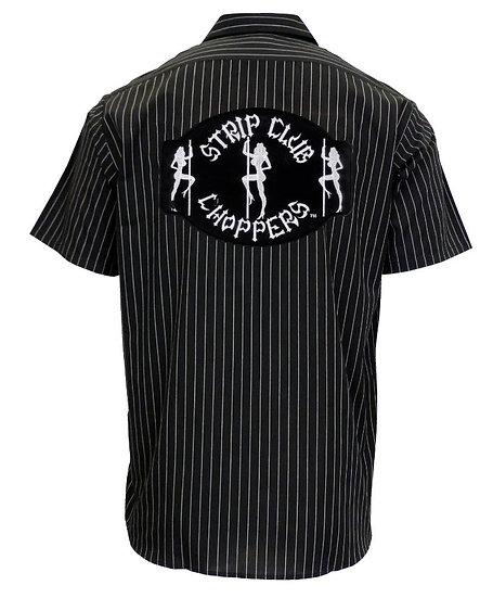 Men's Pinstipe SCC Mechanic-Style Shop Shirt