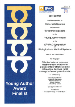 Joel Balmer IFAC Young Author Award Winner