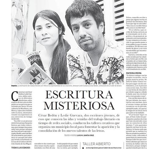 """""""Escritura misteriosa"""". Una nota en Variedades, del diario El peruano."""