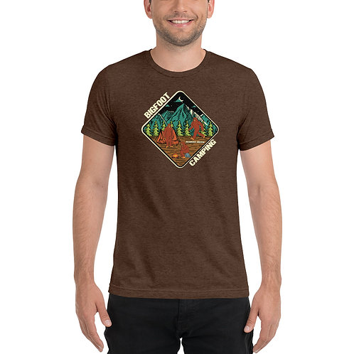 Bigfoot Camping in Redmond Oregon - Short sleeve tri-blend t-shirt