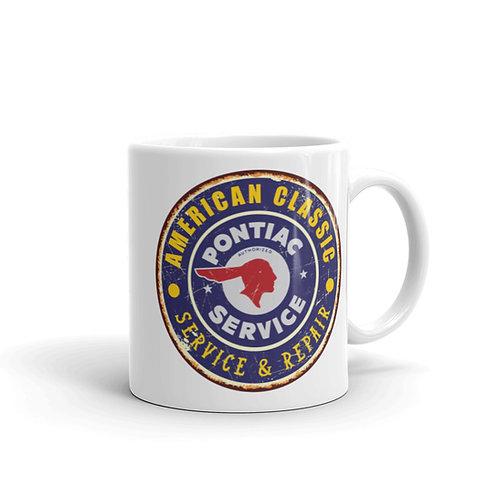 Pontiac Logo Classic Car Show - White glossy mug