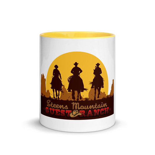 Steens Mountain Guest Ranch Cowboys into the Sunset - Mug with Color Inside
