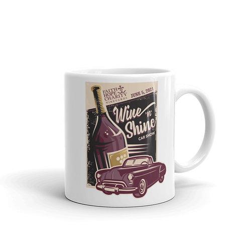 Wine 'n' Shine Car Show - June 5, 2021 - White glossy mug