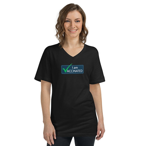 I am Vaccinated - VAXXED - Unisex Short Sleeve V-Neck T-Shirt