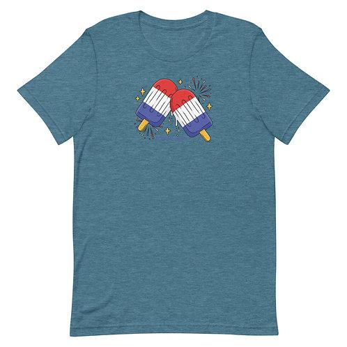 USA 4th of July Popsicles - Redmond, Oregon - Short-Sleeve Unisex T-Shirt