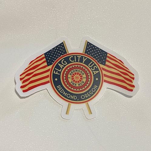Flag City USA Sticker - Redmond, Oregon