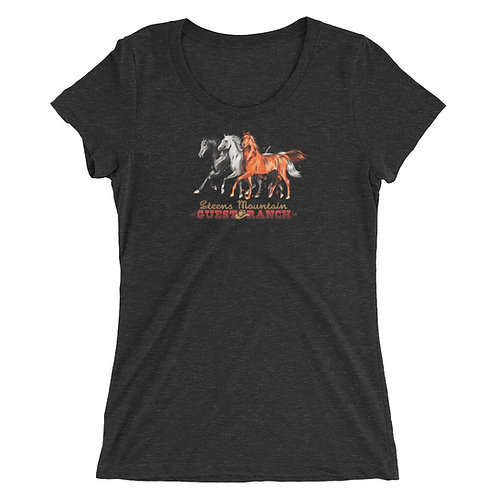 Steens Mountain Guest Ranch Hand Drawn Horses - Ladies' short sleeve t-shirt