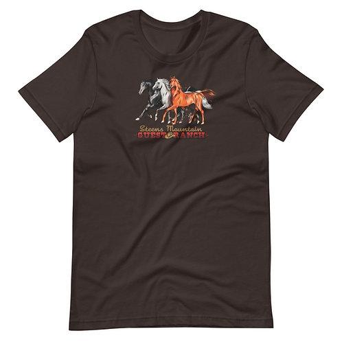 Steens Mountain Guest Ranch Hand Drawn Horses - Short-Sleeve Unisex T-Shirt