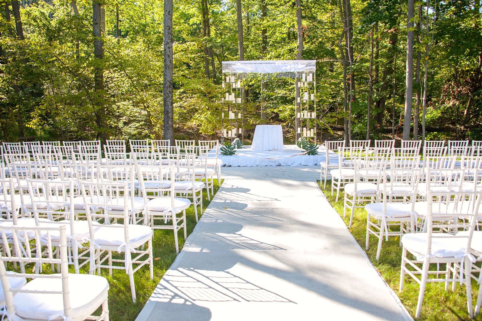 White Ballroom Chairs, White Runner