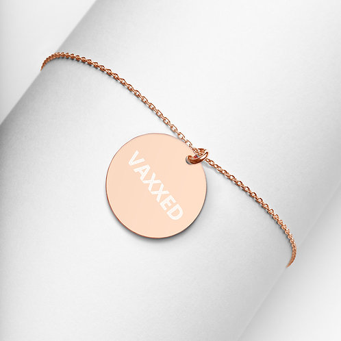 VAXXED - Engraved Silver Disc Necklace