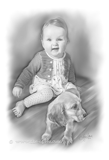 Cute Baby and Pet Portrait