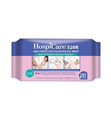HospiCare 320R Skin Protectant Incontinence Wipes 20 Sheets